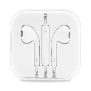 Πλαστικά, άσπρα ακουστικά με μικρόφωνο